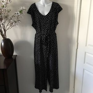 Tacera Black Jumper with White Polka Dots Size 3X